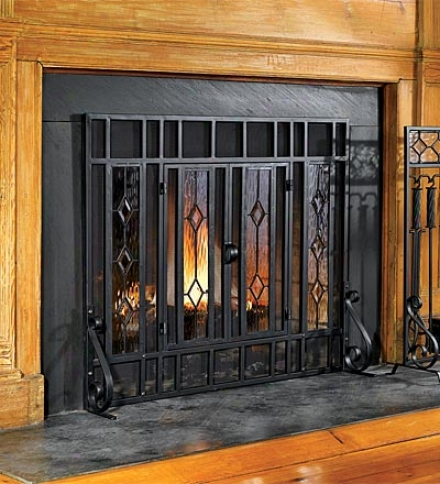 """38"""" X 31""""h Beveled Glass Diamond Fireplace Screen With Powder-coated Tubular Steel Frame And Tool Setsave $49.95 On The Set!"""