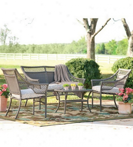 4-piece Brown Wicker And Cast Aluminum Exterior Furniture Sey With Seat Cushions