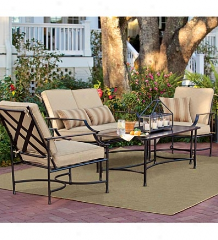 4 Piece Outdoor Staunton Seating Set With Metal Frame And Olefin Cushions