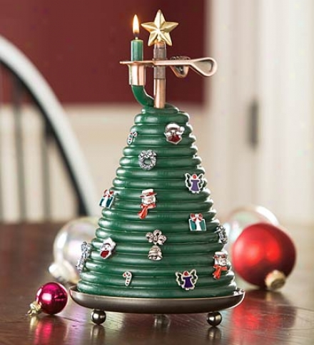 40 Hour Beeswax Tree Coil Candlr With 10 Removable Gold-tone Ornaments