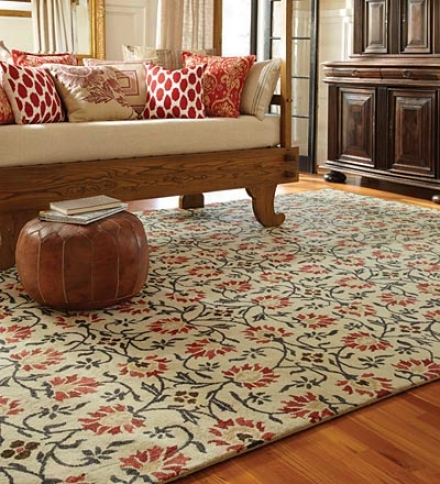 4' X 6' Charming Suzani Hand-tufted Wool Area Rug