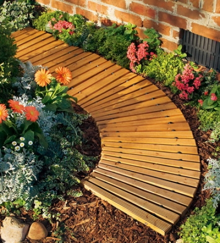 "4'l X 18""w Portable Rokl-out Wooden Curved Pathway"