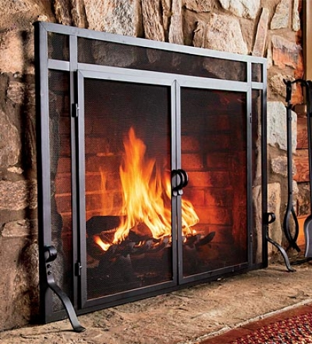 "44""w X 33""y Solid Steel Flat Guard Fire Screen With Doors"