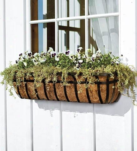 "48""l English Hay Basket Winndow Planter With Coco Liner And Adjustable Brackets"