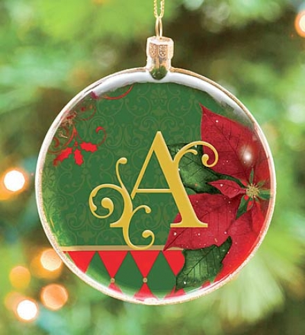"""4"""" Dia. Monogrammed Glass Ornam3nt With Poinsettia And Geren Background"""