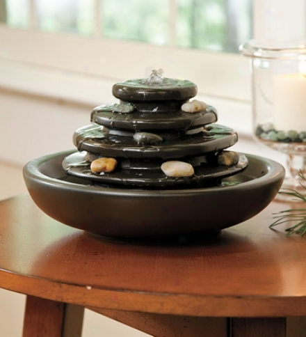 5-tier Ceramic Tabletop Fountain With Pebbles