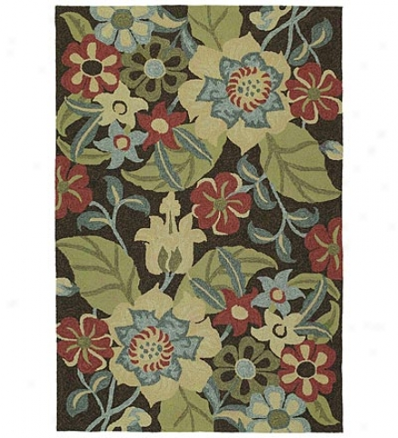 5' X 7'6 Botanical Leaves Indoor/outdoor Polypropylene Rug