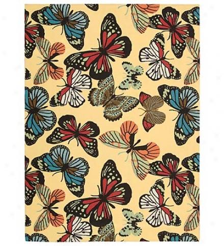 """5'3"""" X 7'5"""" Butterfly Indoor/outdoor Rug"""