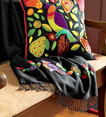 "50""w X 70""l Colorful Creeel Partridge In A Pear Tree Holiday Wool Throw"