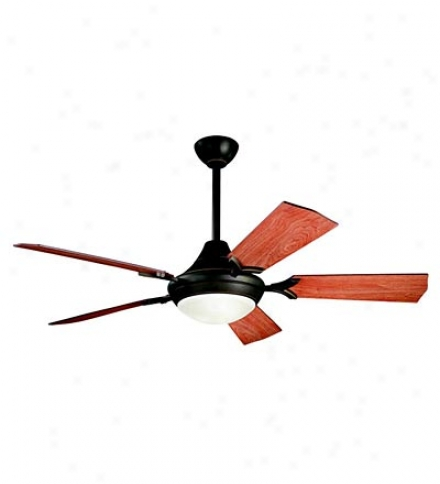 "52"" 5-blade Reversible Blade Ceiling Fan With Etched Glass Shade"