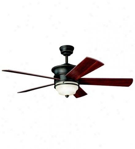 "52"" Wood-grain Reversible Blade Ceiling Fan With Etched Glass Shade"