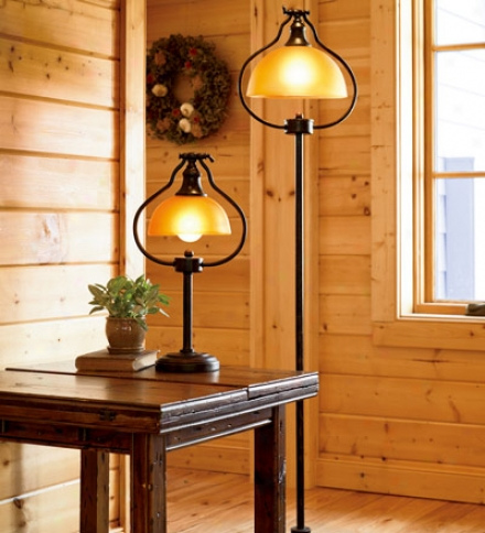 "54""h Library Floor Lamp With An Antique Brown Finish"