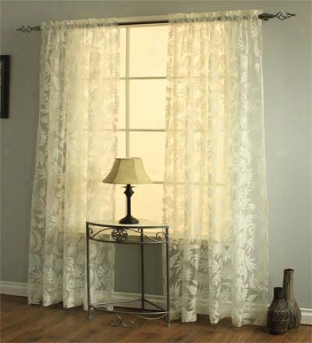 "54""w X 84"" Leaves Burnout Semi-sheer Curtain Panel"