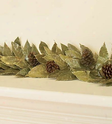 "56quot;l X 10""w Gold-ecged Preserved Natural Leaves Garland"