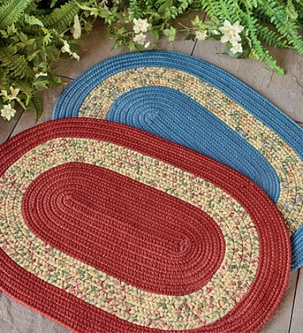 5' X 8' Usa Made Indoor/outdoor Reversible Fabric And Braided Rug