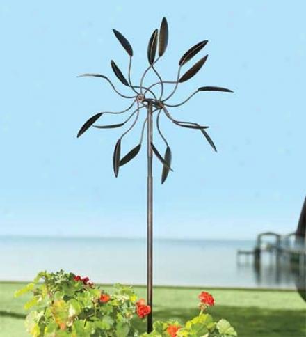 6'h Kinetic Steel Leaf Design Garden Windmill