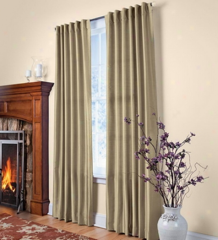"63""l Easy-care Faux Silk Washable Window Curtain Paanel Pairs"