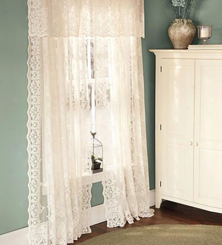 "63""l Easy-care Polyester Highland Lace Curtains With Rod-pocket Top"