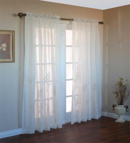 "63""l Embroidered Hydrangea Sheer Curtain Panel"