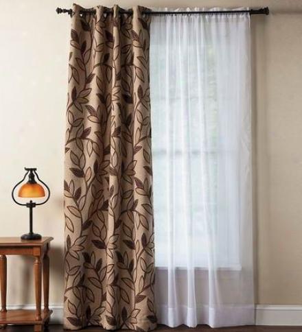 "63""l Falling Leaf Textured Grommet Curtain Panel"