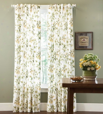 "63""l Falling Leaves Lined Cotton Curtain Panel"