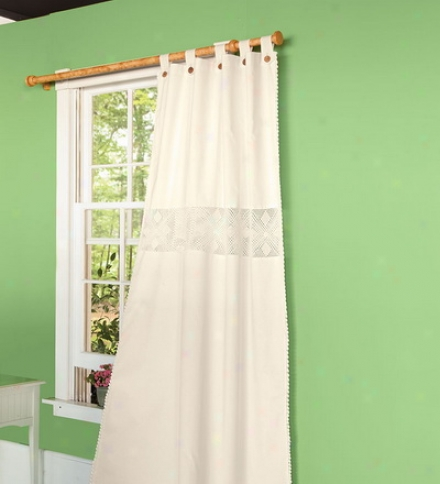 "63""l Hand-crocheted Button Tab-top Curtain Panels"