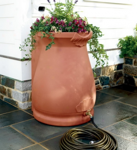 65-gallon Rain Barrel Urn With A Self-draining Planter