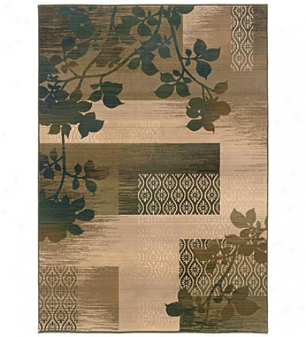 6.7' X 9.1' Odyssey Green Leaves Cross-woven, Wool-look Polypropylene Area Rug