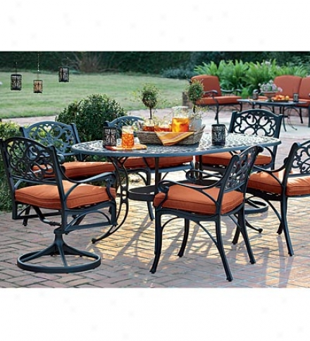 7-piece Bridgewater Scrolled Aluminum Dining Set With Cushions