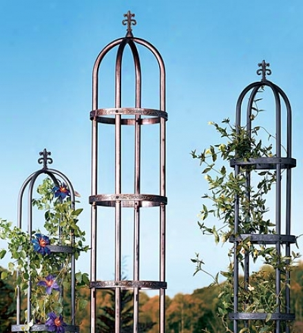 7' Decorative Garden Column Made Of Sturdy Powder-coated Steel