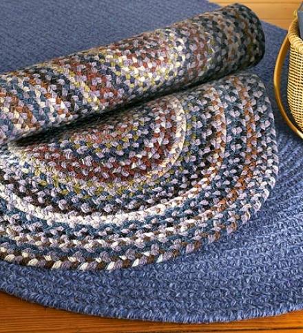 7' X 9' Uhique Amrrican- Made Oval Bear Creek Braided Wool And Nylon Blend Rug