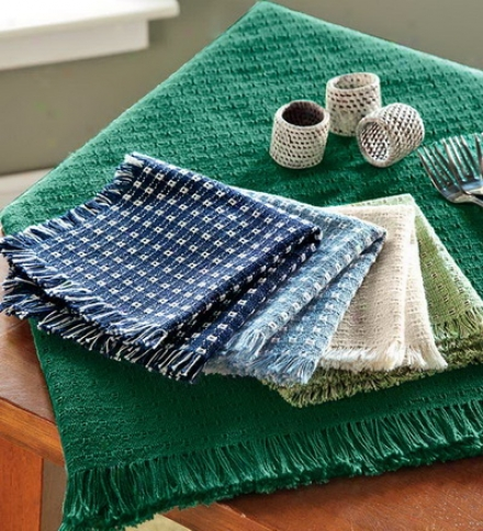 "70"" Round Homespun-cotton Reversible Tablecloth With Fringed Edges"