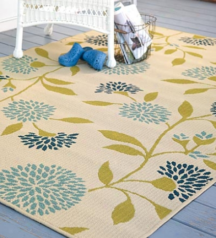 "7'10"" Round Easy Care Affordable Outdoor Surry Rugs In Floral And Stripe Patterns"