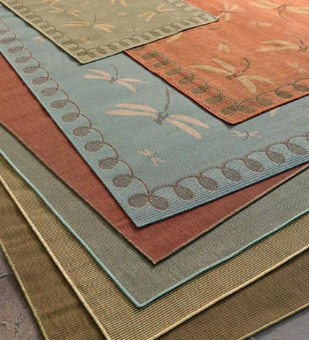 "7'10""w X 9'10""l Outdoor/indoor Rug In Dragonfky And Solld Designs"