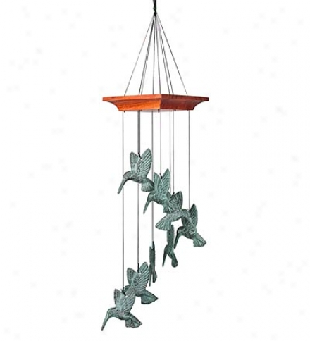 8-chime Cast-metal Hummingbird Spiral Wind Chime In A Verdigris Perfect
