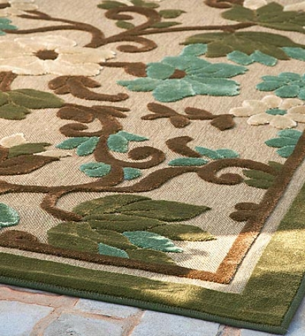 8' X 10' Indoor/outd0or All-weather Olefin Tropical Garden Area Rug