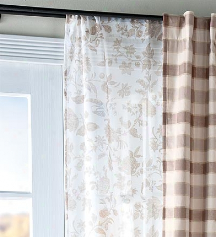 "84""l Floral Stencil Print Sheer Window Panel"