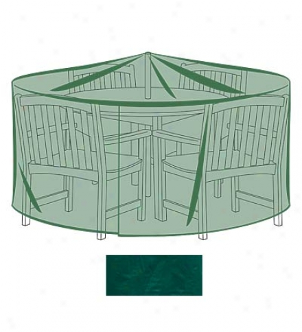 """92"""" Dia. X 33""""h Outdoor Furniture All-weather Cover For X-large Round Table & Chairs"""