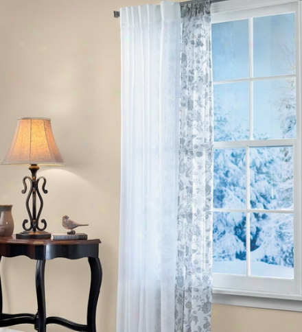 "96""l Semi-sheer Smooth-pulling Lucerne Curtain Panel Pairs With Attached Slider Wand"