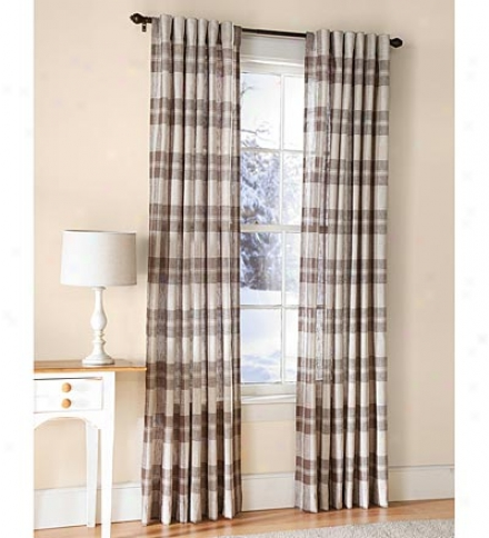 "96""l Textured Linen-like Plaid Sheer Curtain Panels"
