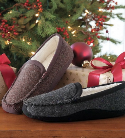 Acorn Men's Luke Wool And Fleece Moccasin Style Slippers