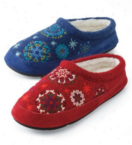 Acorm® Boiled Wool Embroidered Snowflower Mules