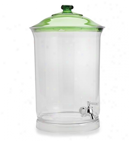 Acrylic 3-gallon Beverage Dispenser With Green Lid