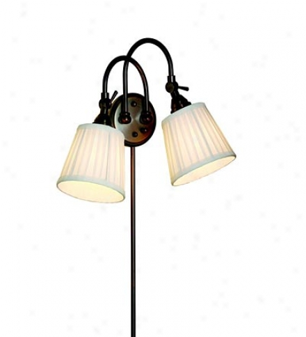 Adjustable Two-light Wall Sconce With Pleated Shades