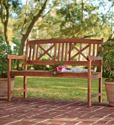 All-weather Eucalyptus Double X-back Outdoor Garden Bench