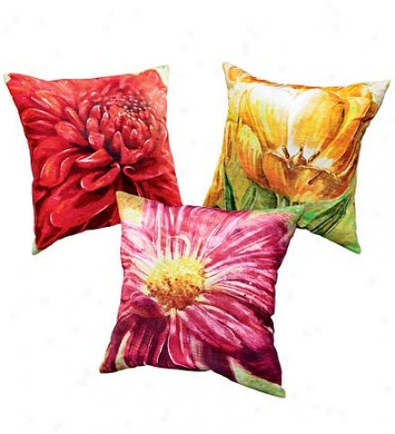 All-weather Outdoor Flower Throw Pillowbuy 2 Or More At $21.95 Each