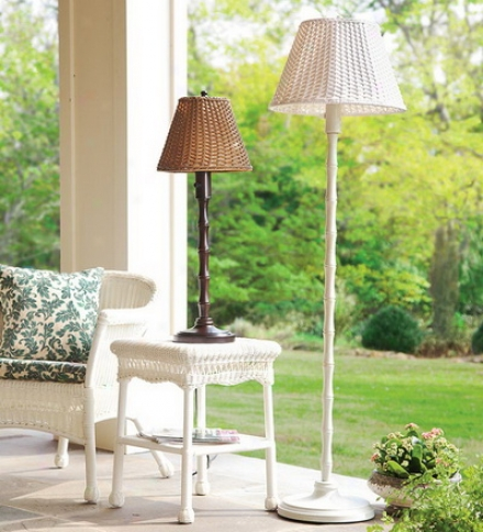 All-weather Exterior Rattan Wicker Table Lamp
