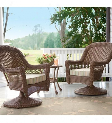 All-weather Outdoor Resin Rattan Seating Set With Sunbtella® Cushions Included