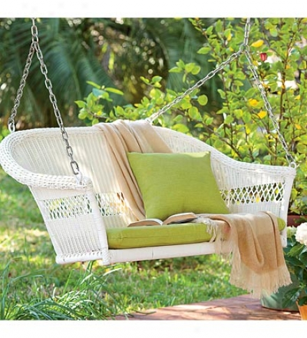All-weather Resin Outdoor Everyday Wicker Swing