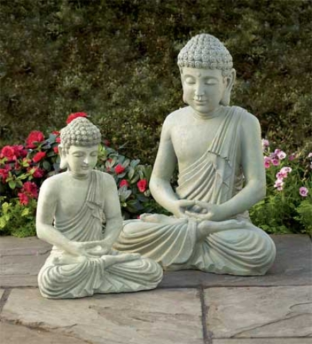 "All-weather Small Garden Buddha Statue, 15-1/2""h"